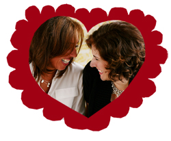 Joy and Kelly enclosed in a paper cut out heart