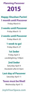 Passover Calendar 1 month countdown