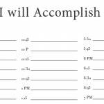 Today I Will Accomplish worksheet to break your day into 15 minute intervals