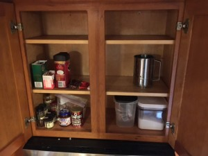 Kelly's cabinet much emptier in preparation for the holiday.