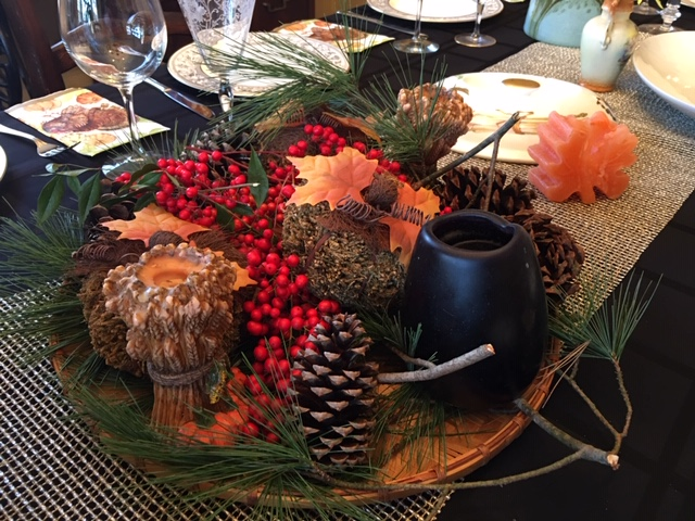 Holidays are a time for gathering together and gratitude. Joy's holiday table is always set EARLY and set beautifully with rustic elements from the outdoors.